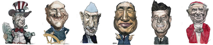 Caricatures of Newsmakers by Kerry Waghorn