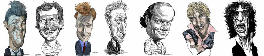 Caricatures of actors, directors and politicians by Kerry Waghorn