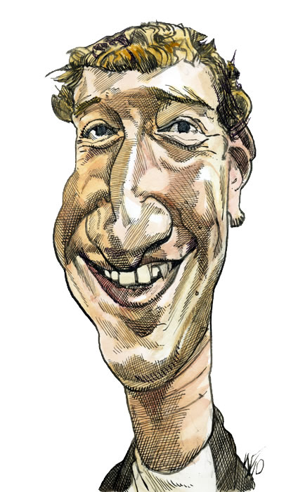 Mark Zuckerberg - Founder of Facebook 09.29.10 - Pen, brush,