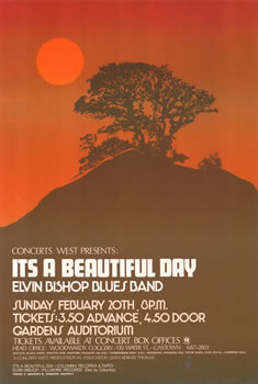 1972 It's a Beautiful Day & Elvin Bishop Blues Band concert poster