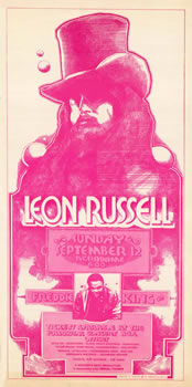 1971 Leon Russell with Freddie King concert poster