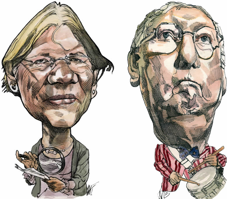 Elizabeth Warren and Mitch McConnell